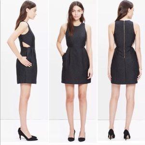 Madewell Nightfall Jacquard Cutout Black Dress